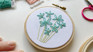 Detached chain stitch flowers