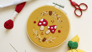Creating the mushroom hoop for the October 2021 Hopebroidery Box