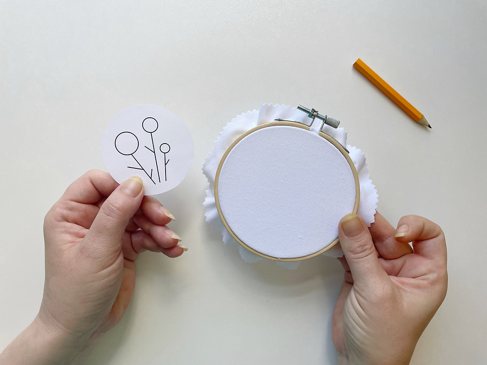 Hope holds up a blank embroidery hoop with white fabric and a simple line drawn pattern on paper. A pencil is also in the shot.