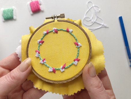 How to stitch a hand embroidered wreath