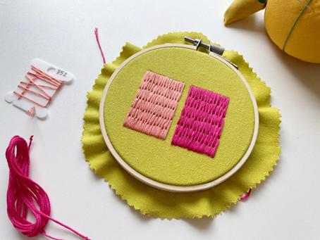 """Brick stitch (aka """"long and short"""" stitch)"""
