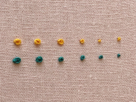 French knots with varying strands of floss