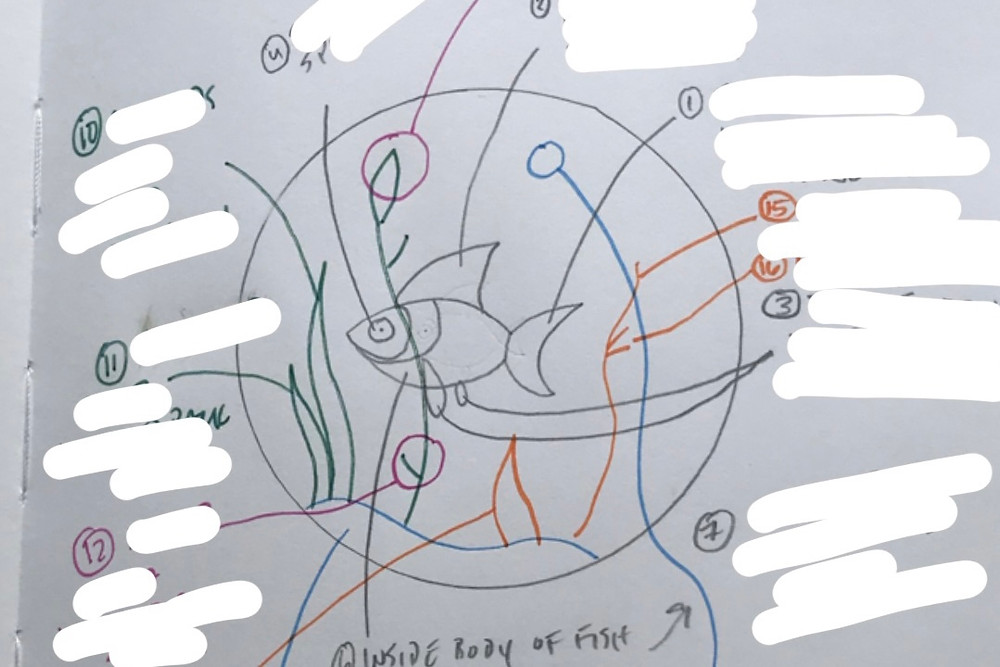 Photo of a sketchbook page with a rough drawing of a fish hoop and notes, many of which have been whited out.