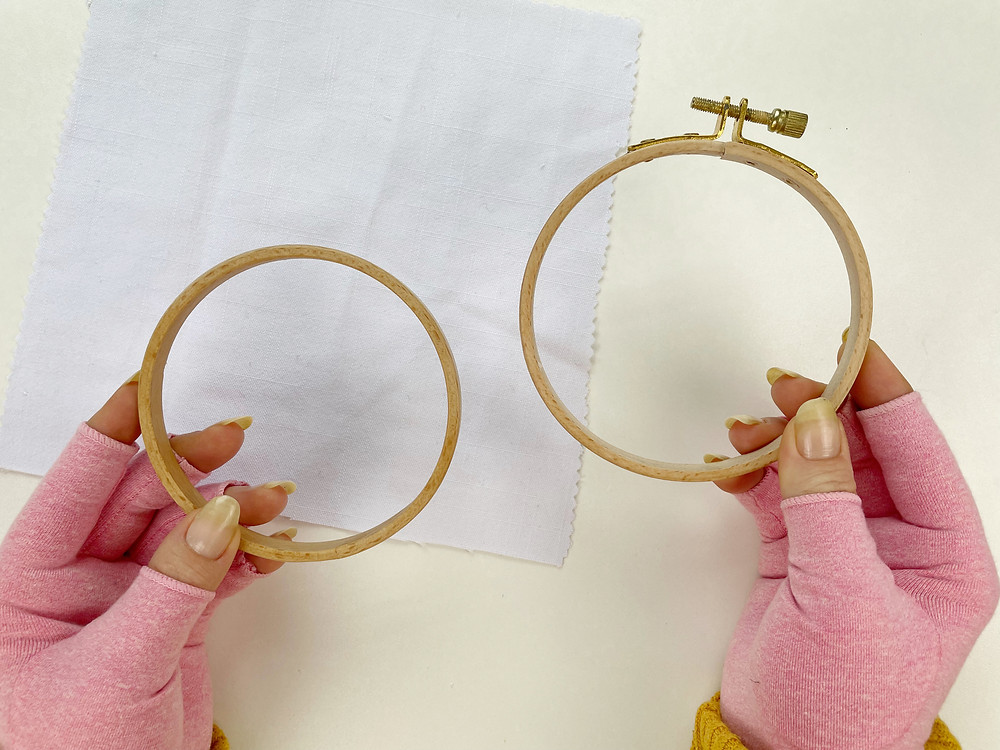 Hope demonstrates how to use a beechwood embroidery hoop.
