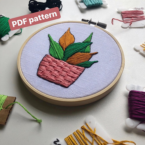 Potted Plant Embroidery Pattern