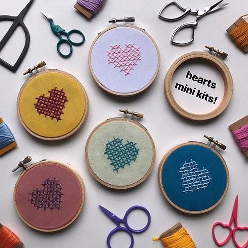 Mini Heart Cross-Stitch Kits