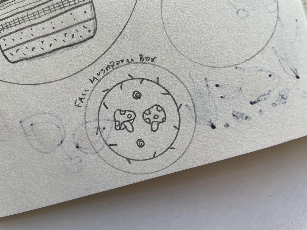 """Photo of a portion of a sketchbook, with a drawing of mushrooms and """"fall mushroom box"""" written across the top"""