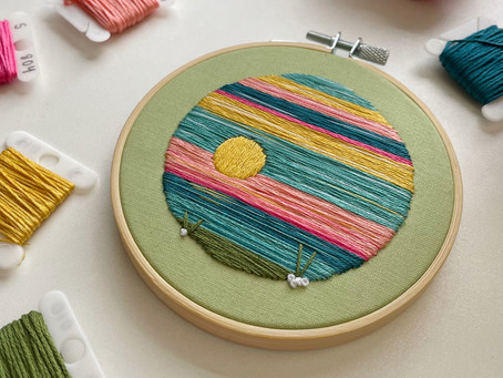 Creating the landscape hoop for the July 2021 Hopebroidery Box