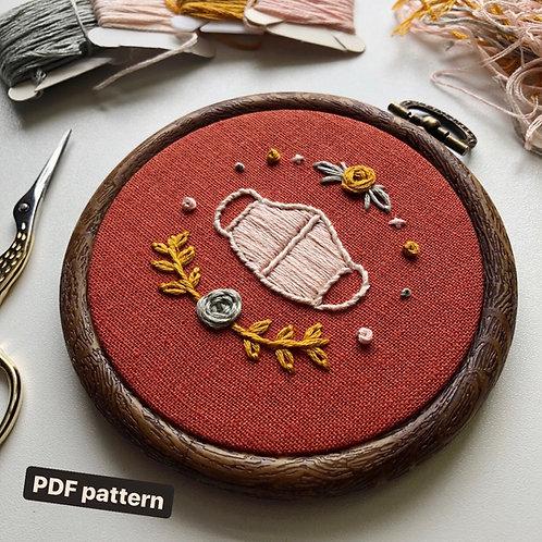 Wear a Mask Embroidery Pattern