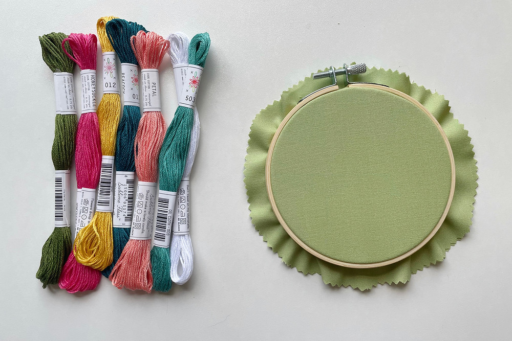 A photo of an embroidery hoop with green fabric, and seven skeins of embroidery floss in various colors.