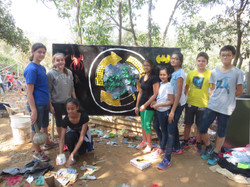 Creating a mural out of waste