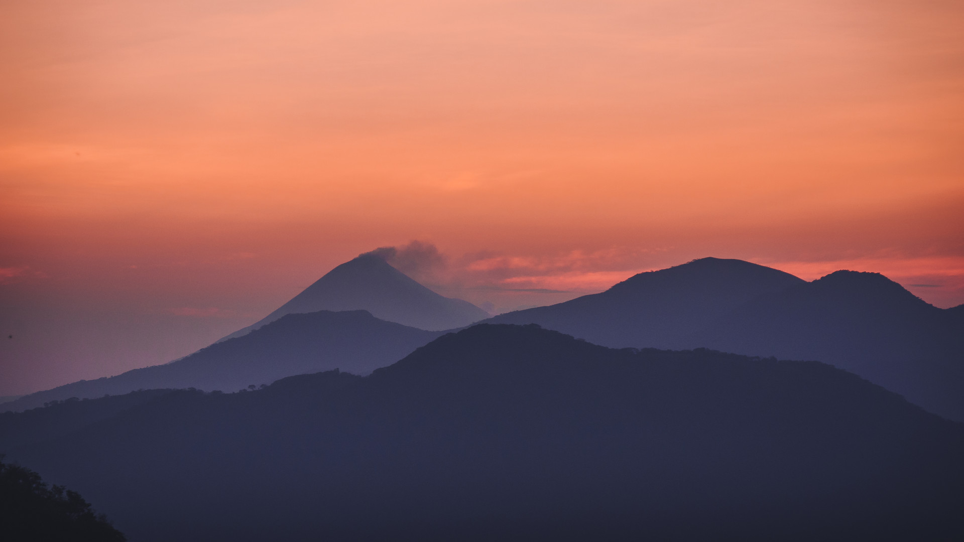 Colorful early morning sky over mountain range in Nicaragua