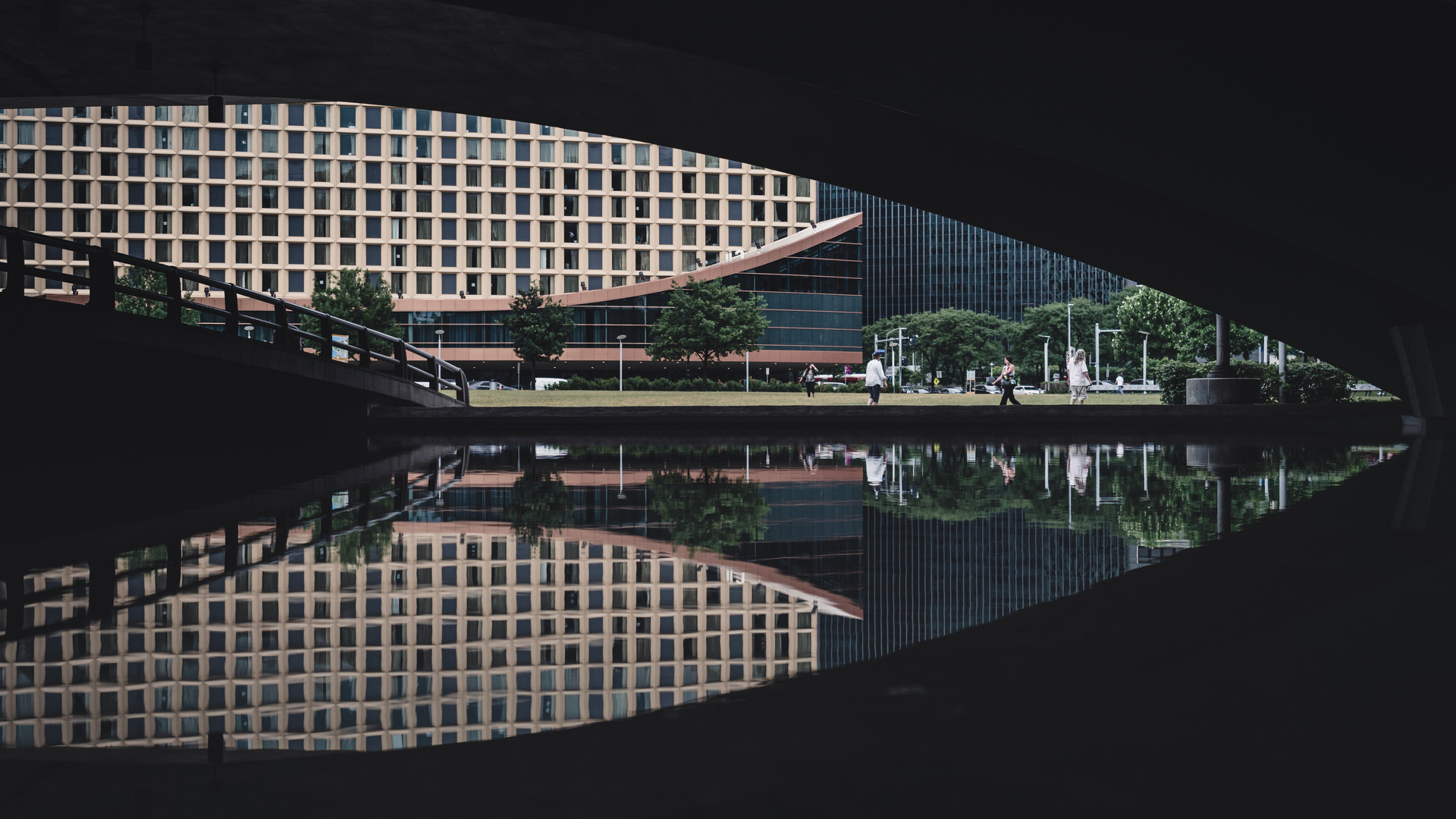 Abstract architecture reflection in the middle of Pittsburgh city