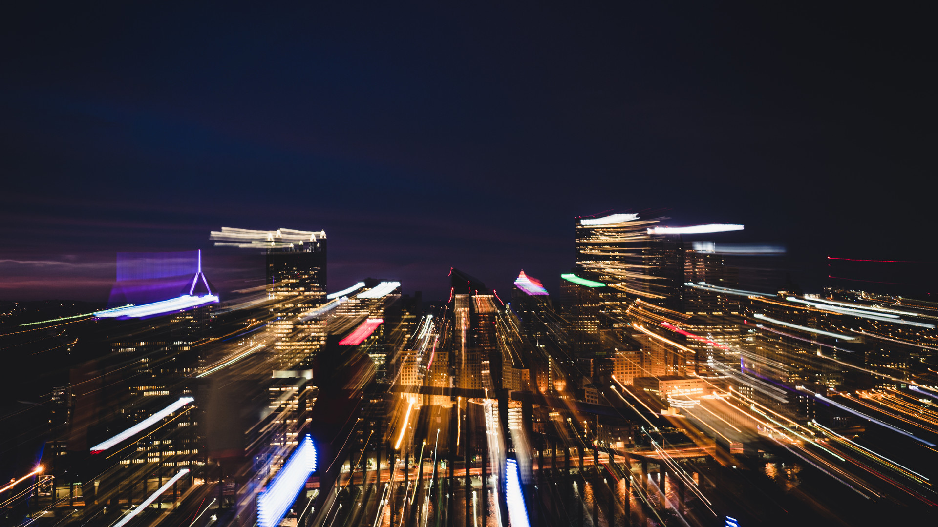 Abstract skyline of Pittsburgh at night