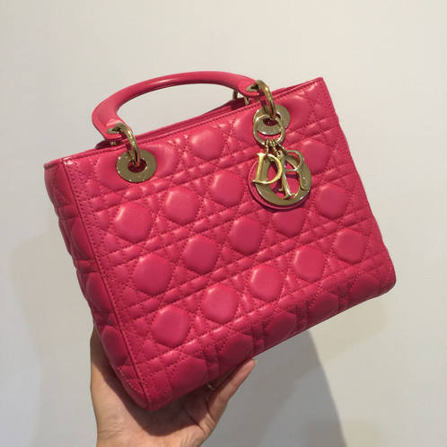 87b22cbd09b Christian Dior Lady Dior Handbag Cannage Quilt Lambskin Medium Pink