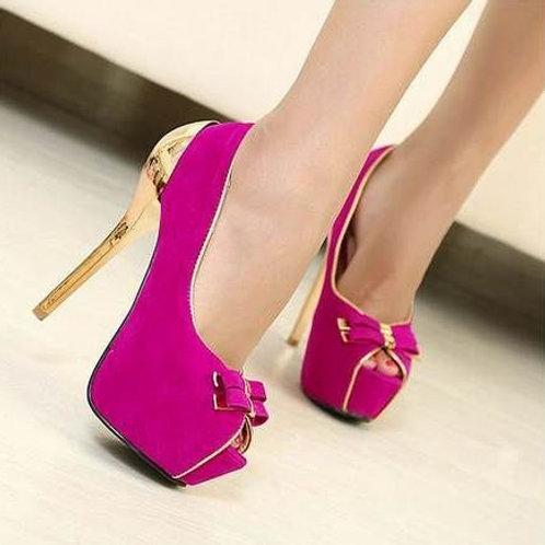 Sapato Peep Toe Laço Salto Metalizado dourado FG 4058