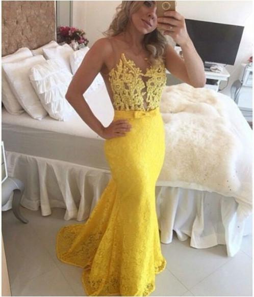 Vestido amarelo sereia gneromulheres cinturanatural comprimento de vestidoslongo siluetaestilo trompete sereia decotegola o color stylecor natural comprimento da thecheapjerseys Choice Image