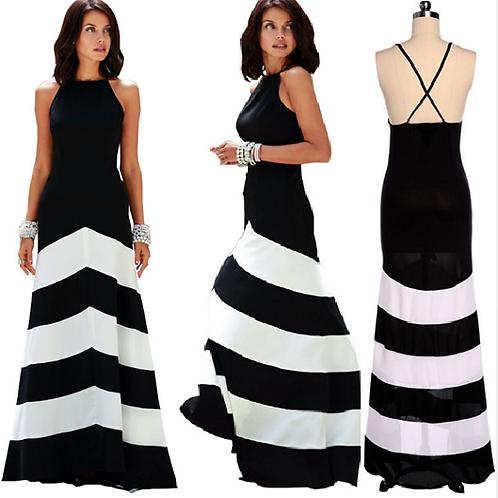 Vestido Longo Black and White FG 4511
