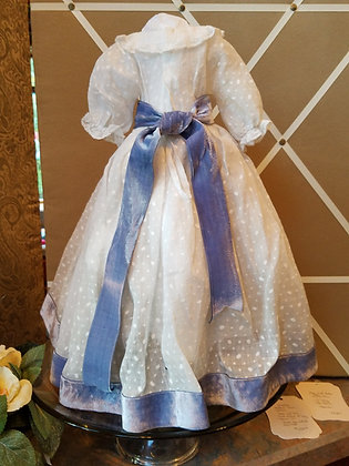 Dotted Swiss Dress with Blue Velvet Ribbon Accents