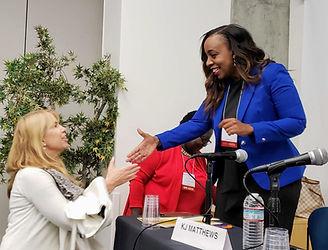 Digital Hollywood panelists greet attendees