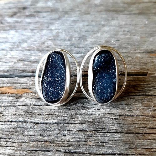 Simple Black Druzy Circle Earrings