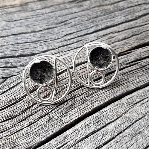Rutilated Quartz Circle Earrings