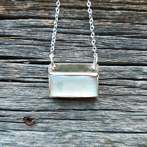 Grey Moonstone Bar Necklace