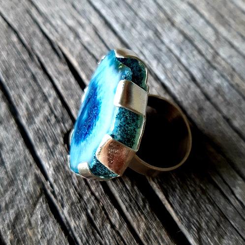 Oversized Blue Geode Ring