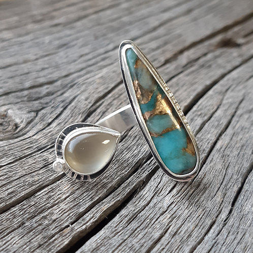 Amazonite Composite, Moonstone and White Sapphire Ring