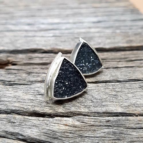 Simple Black Druzy Earrings