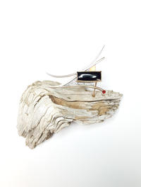 Bronzed Cowbird Brooch Display