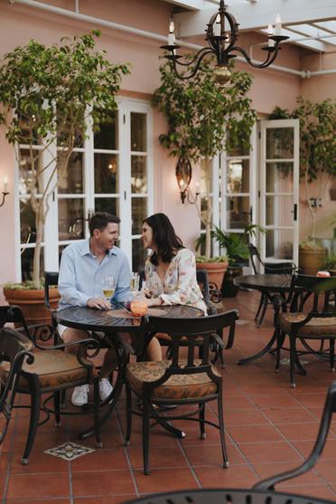 elegant La Jolla engagement session in San Diego, California at La Valencia Hotel