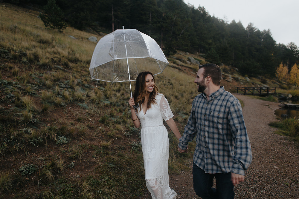 rainy stormy golden gate canyon colorado fall engagement