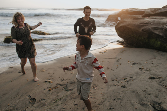Adventurous outdoor family lifestyle beach photography in San Diego California
