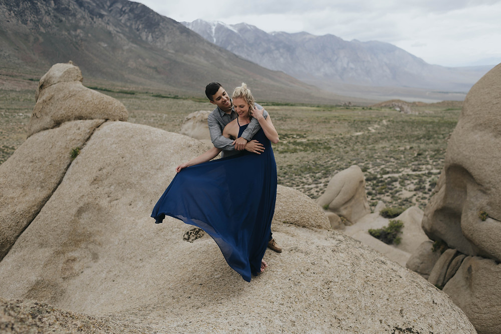 bishop california rock climbing and camping adventurous outdoor engagement session photography