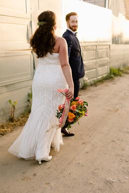 tropical unique wedding inspiration san diego downtown vibrant bouquet beaded dress ginger groom sunset romantics