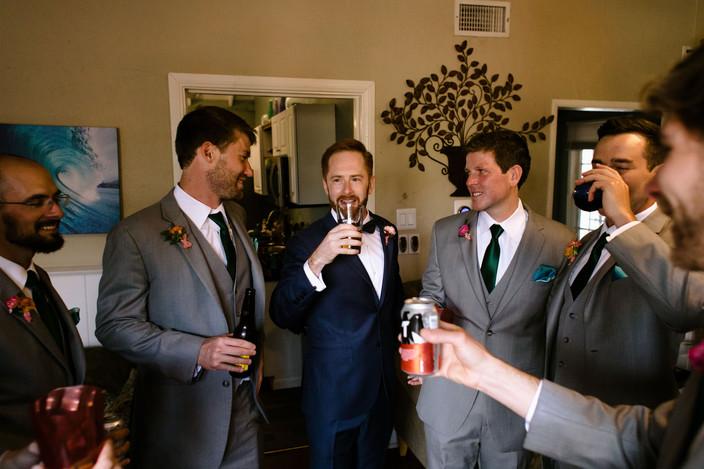 groom and groomsmen prep inspiration san diego lush and tropical downtown wedding vibrant decor