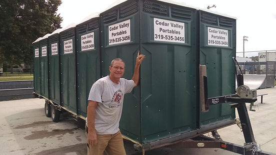 Mike Mahoney, owner of Cedar Valley Portables, delivering portable toilets (porta potties, porta pots) to the Bremer Co. Fair. He can deliver them for your outdoor event, celebration, or construction job site