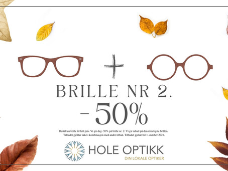 Kjøp 2 få 50% på den rimeligste brillen