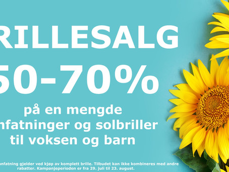 Brillesalg 50% til 70%