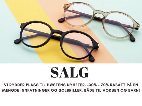 Salg på innfatninger og solbriller
