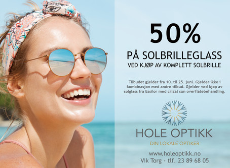 50% på solbrilleglass!