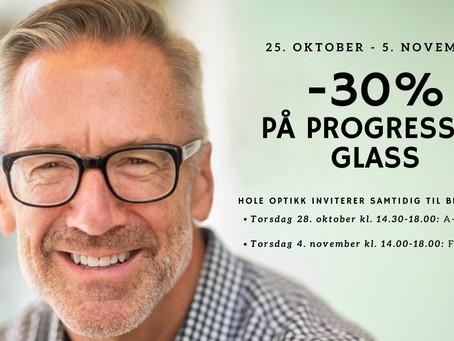 -30% på progressive glass + Brilledager!