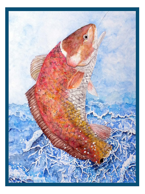 Red Fish Note Card