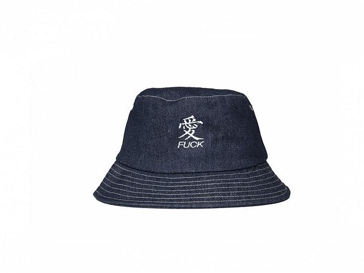 Fuck Love Denim Bucket hat