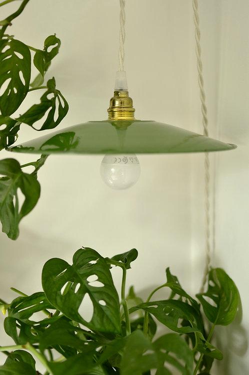 Lampe émaillée verte et blanche
