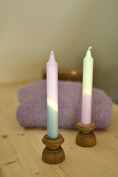 "Mini-bougeoir bois, Collection N°3  - ""Le Pastel"""