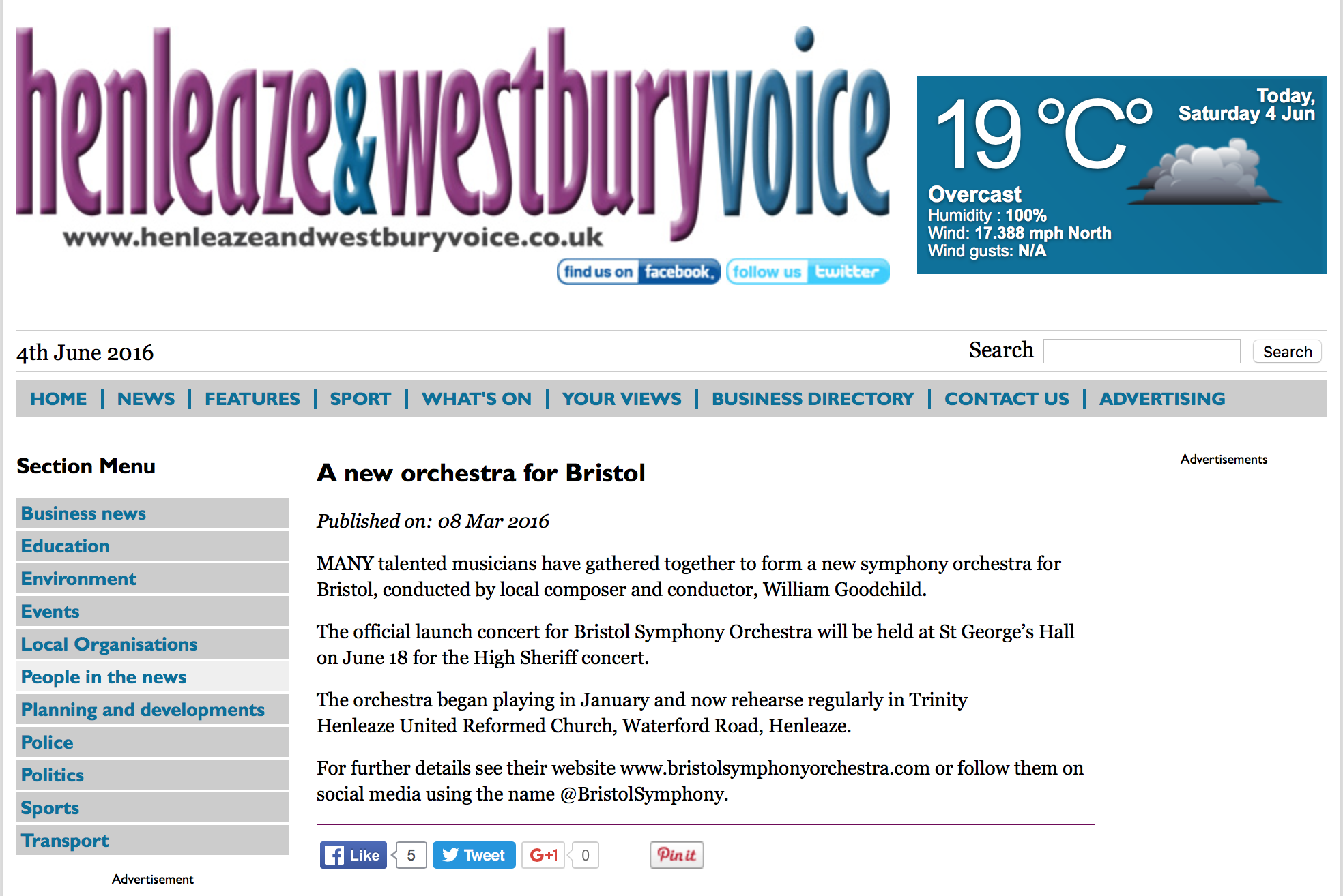 Henleaze and Westbury Voice Website