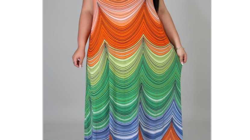 Printed multi colored sundress (Plus size )