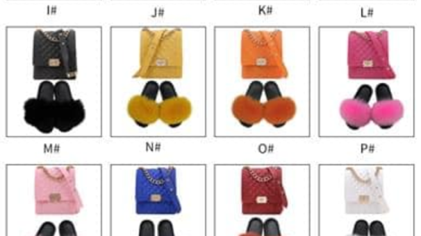 Mini jelly purse and fur slippers sets
